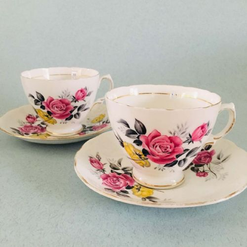 Royal Vale - Pink and Yellow Roses - 2 x Duo - 50s